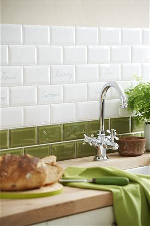 bevelled oxford tiles in white and apple green the green and white go well together  i like the tile   dream home      rh   pinterest com