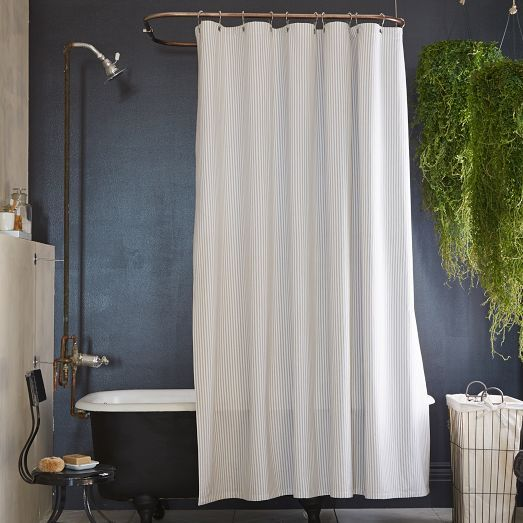 Ticking Stripe Shower Curtain, White/Feather Gray | To Bathe ...