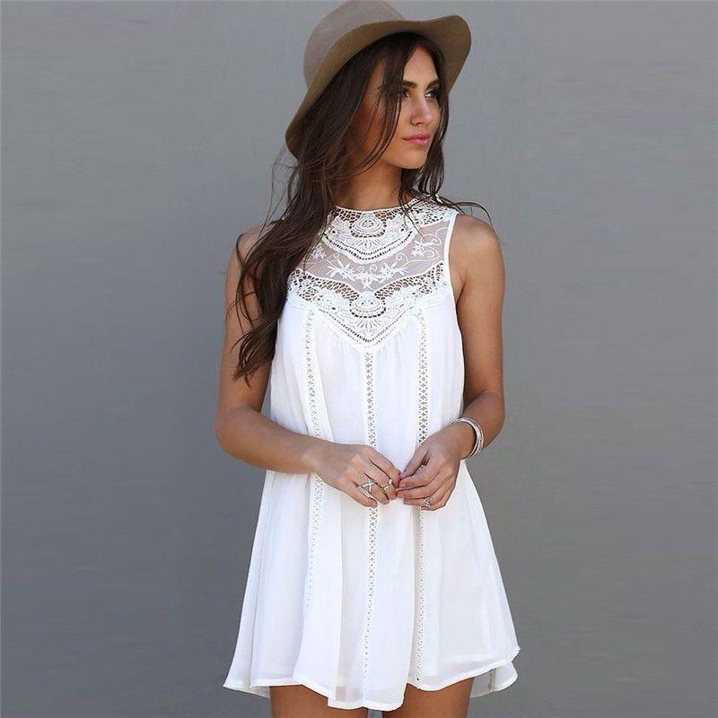 8ac706ea90ee Sexy Vestido De Encaje Blanco Ropa De Moda para Mujer Casual Corto ...
