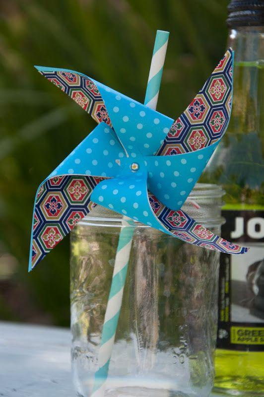 Diy Paper Pinwheel Straws Attach Pinwheel With Baker S Twine So