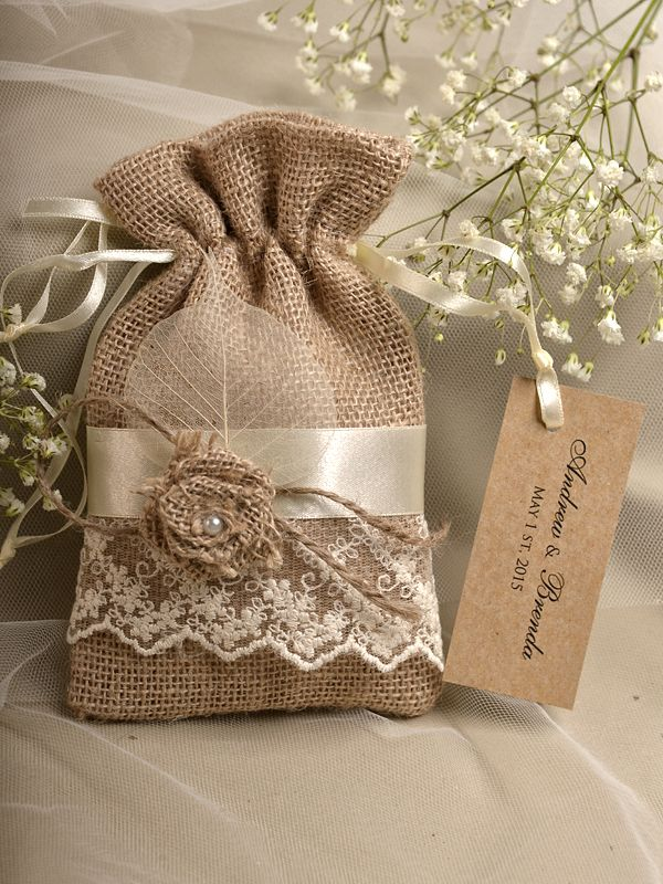 Natural Rustic Burlap Wedding Favor Bag Birch Bark County Style Custom Tag Put Something In The That Smells Good
