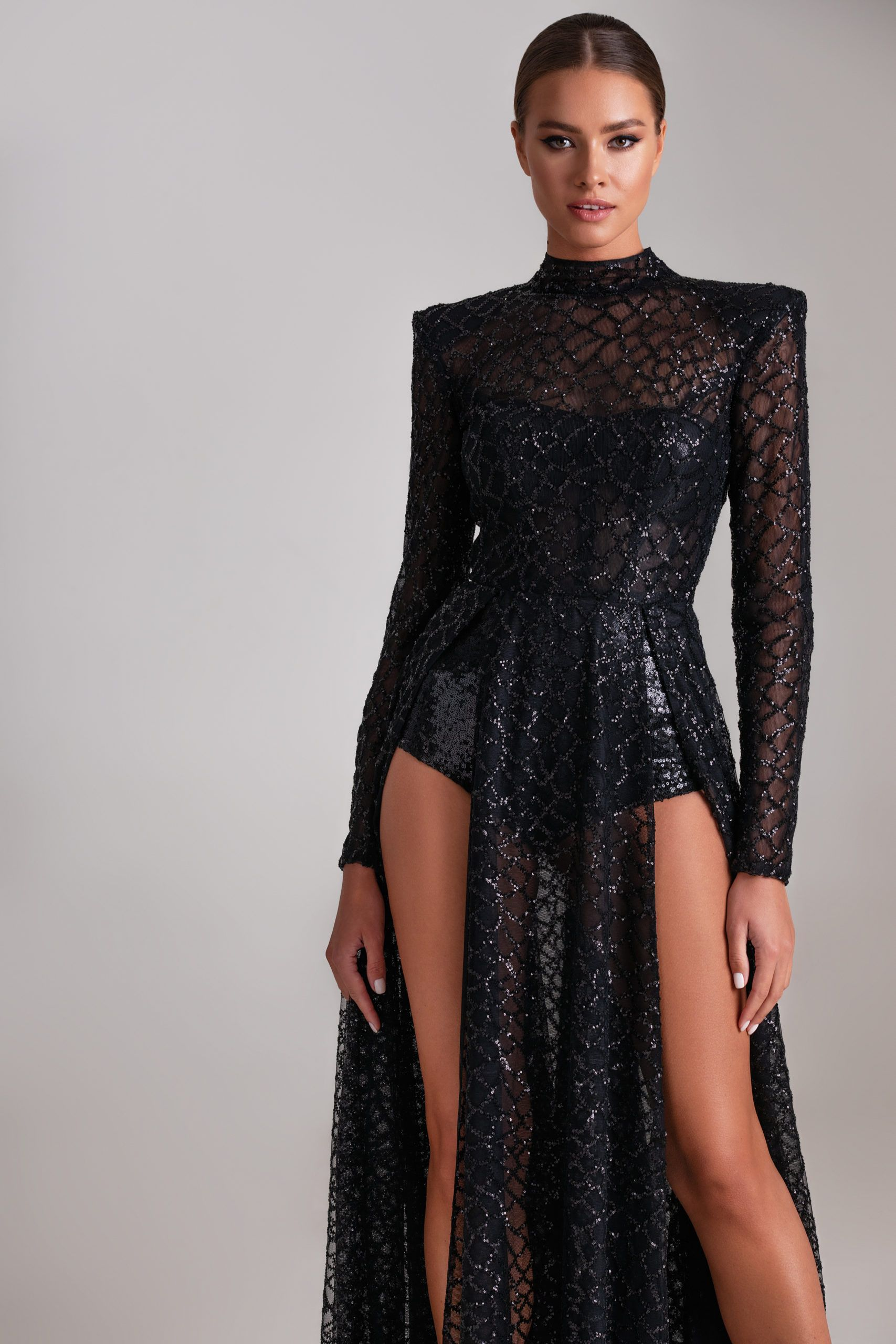Long Sequenced Lace Dress With Sleeves Open Back And Bodysuit Millanova Black Dresses Classy Lace Dress With Sleeves Lace Dress [ 2560 x 1707 Pixel ]