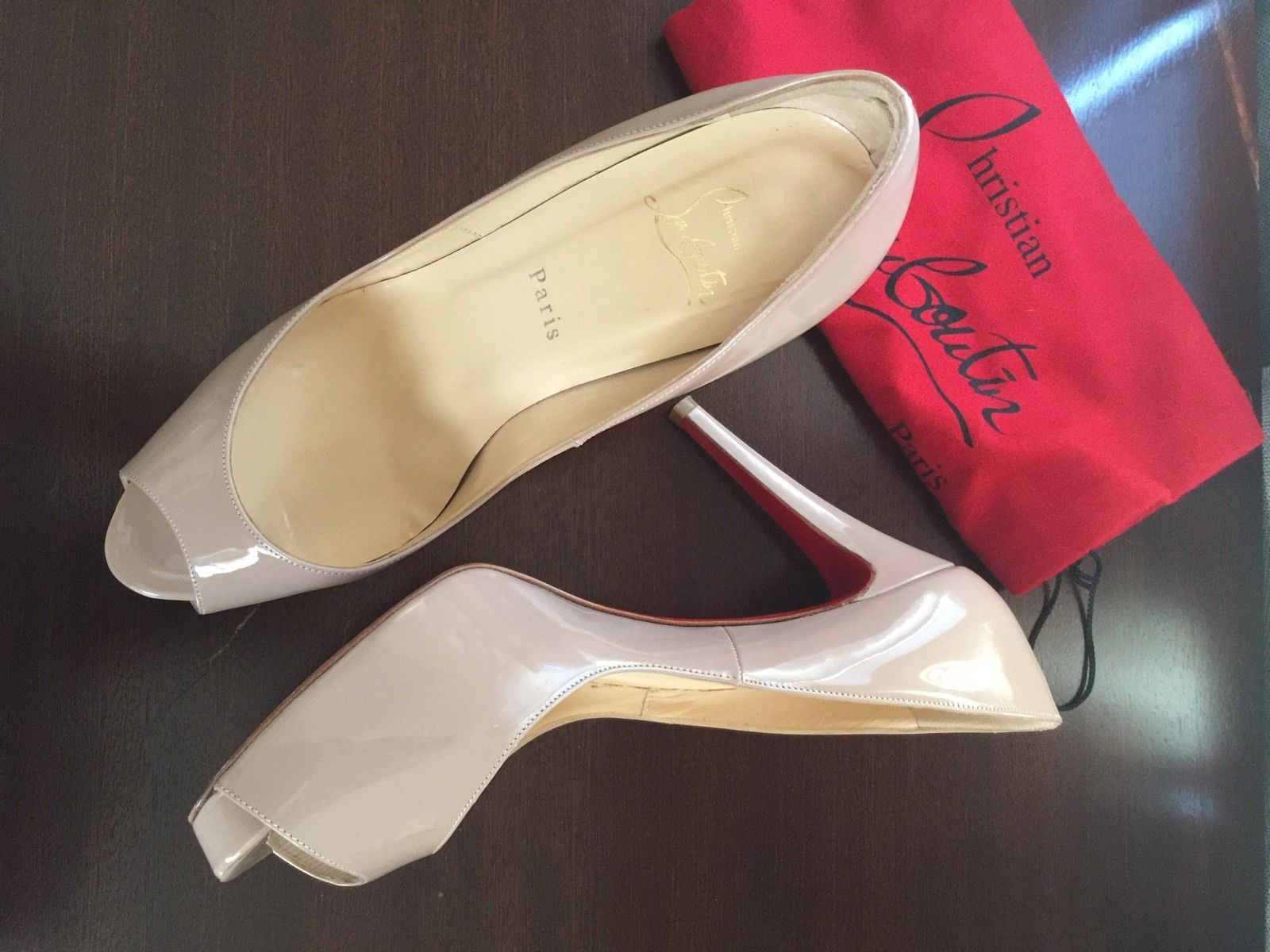 sports shoes 6128f f0b60 Christian Louboutin Very Prive 100 Patent Nude Red Sole Pump ...