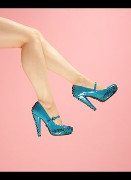 Corset Heel Mary Jane with Embroidered Toe in Turquoise
