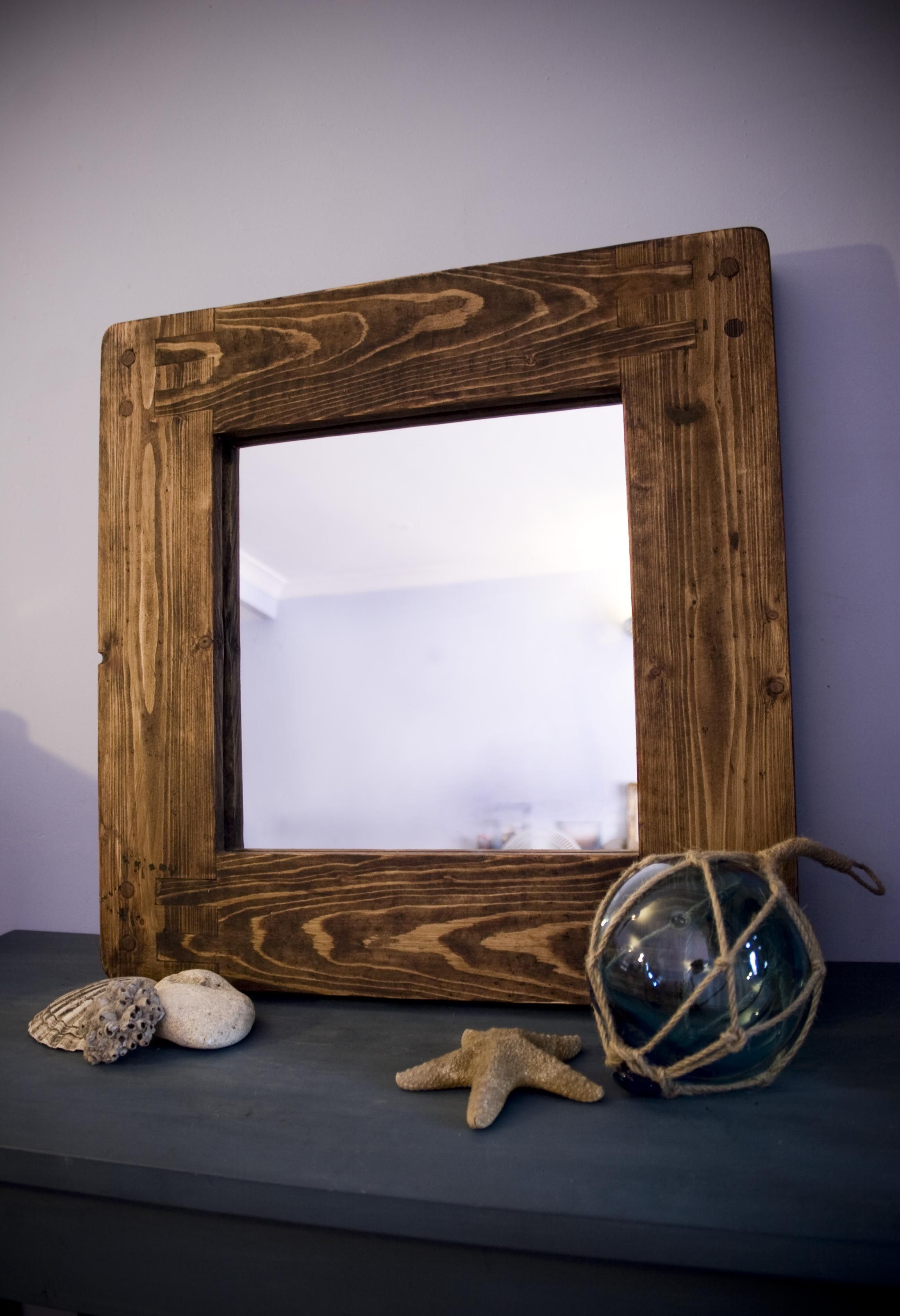rustic mirror with ecofriendly solid wood frame