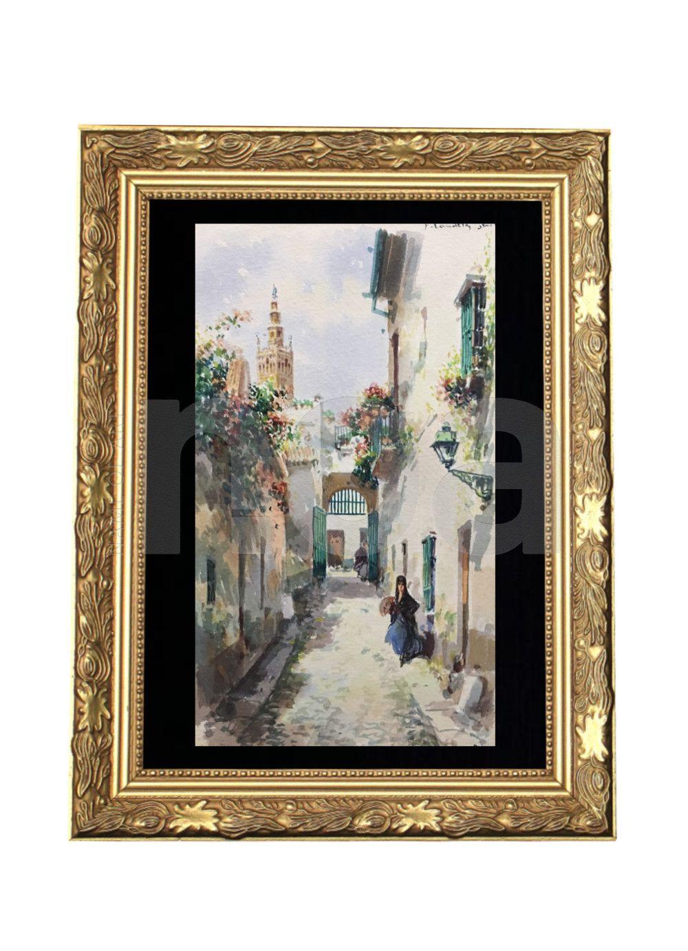 Francisco Candela Act 1890 1910 Belle Aquarelle D Une Ruelle