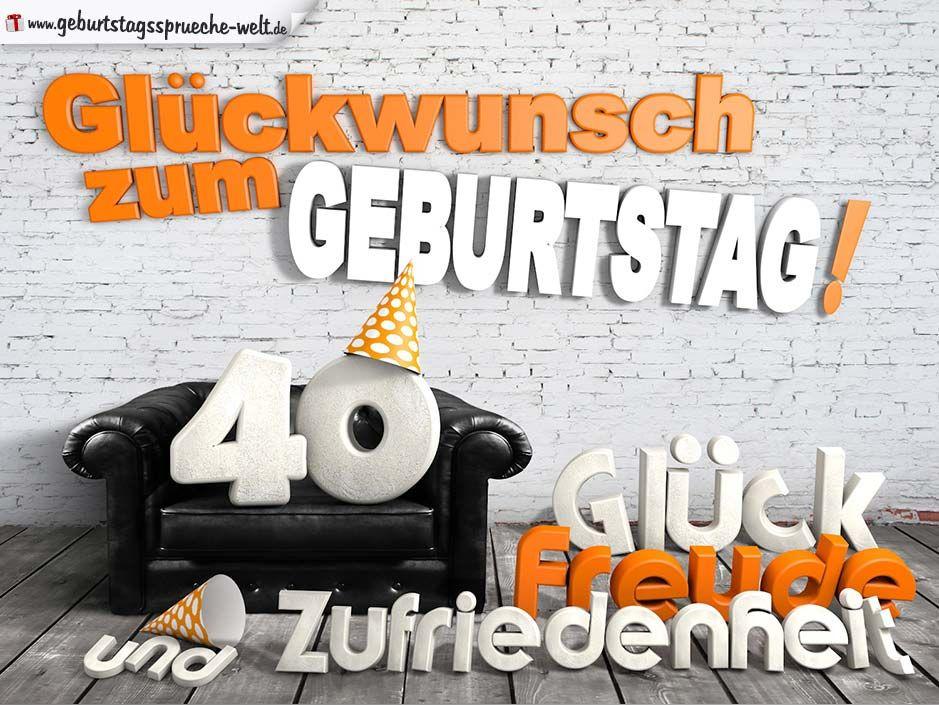 Gluckwunsche Zum 40 Geburtstag Mit 3d Buchstaben Und Sofamotiv
