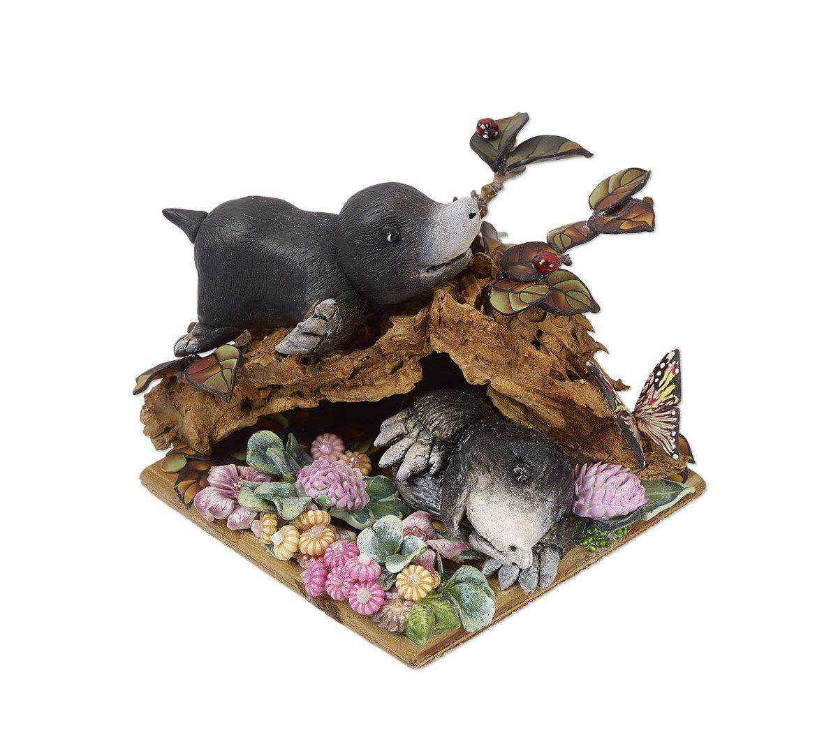 "Polymer Clay Sculptures - Design Idea G93U ""Moles at Play"" Grand Prize President's Award Winner Designer Cornelia Maria Radu Antonescu. Fire Mountain Gems and Beads' Contest 2016 featuring Creative Clays - Finalist #jewelrymakingcontest #polymerclay #jewelrydesign"