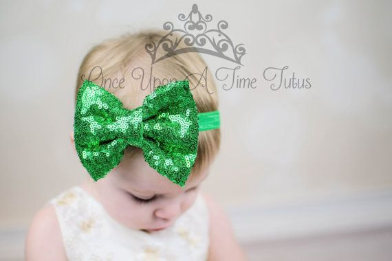 Green /& White Shabby Flower Headband with Sequin Bow