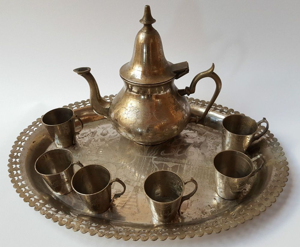 Antique rare islamic ornate engraved brass coffeetea set
