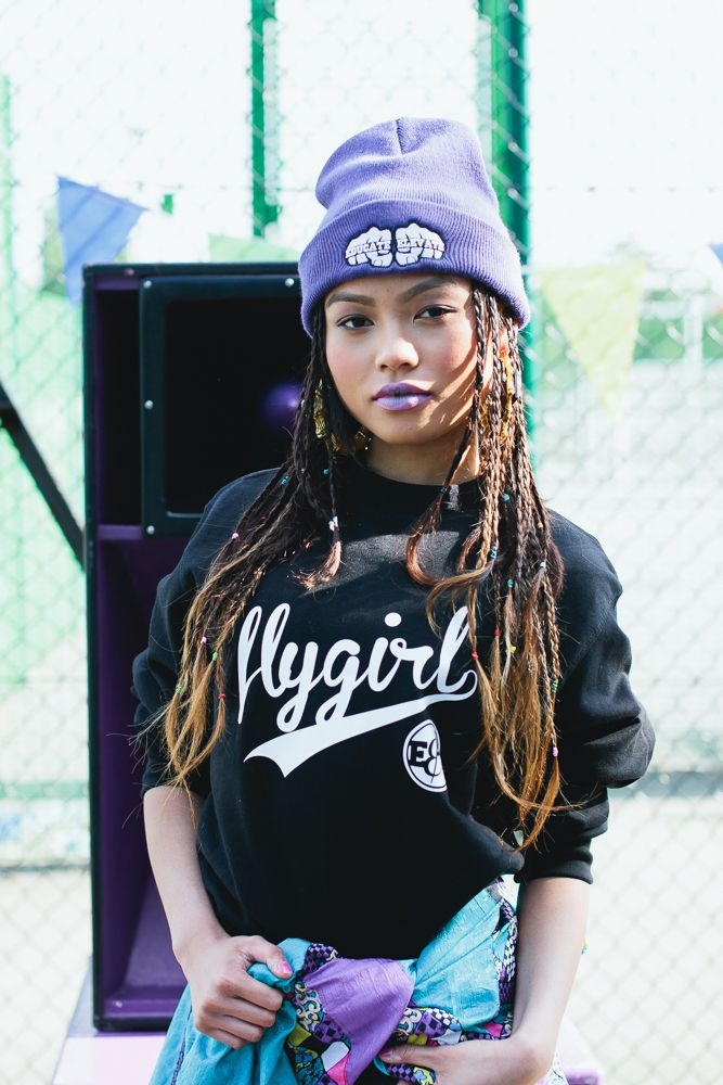 "Mitzi wears the ""Flygirl"" sweater from the SS'13 collection, all available at www.educateelevate.com   #educateelevate #90s # streetwear #streetstyle #basketball #retro #spikelee #dotherightthing #oldschool #fashion"