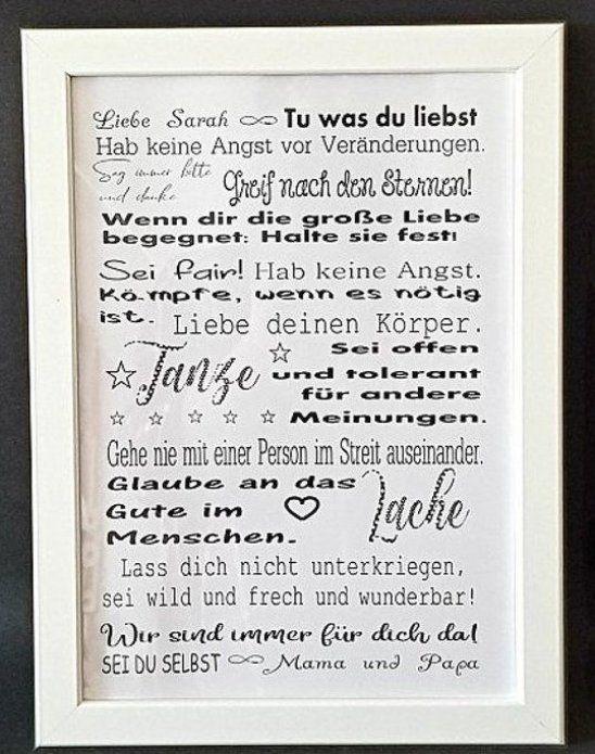 Botschaft f  r mein Kind Print    Poster als Geschenk f  r die Tochter oder den Sohn oder das Patenkind zum 18  Geburtstag  zum Auszug  zum Abi oder einfach nur so Dieses Poster ist ein individuelles und sehr sch  nes Geschenk und noch dazu ein toller Blickfang  Eine bleibende Erinnerung    Ratschl  ge #babyclothes #babygirl #babytoys #babyboyoutfits