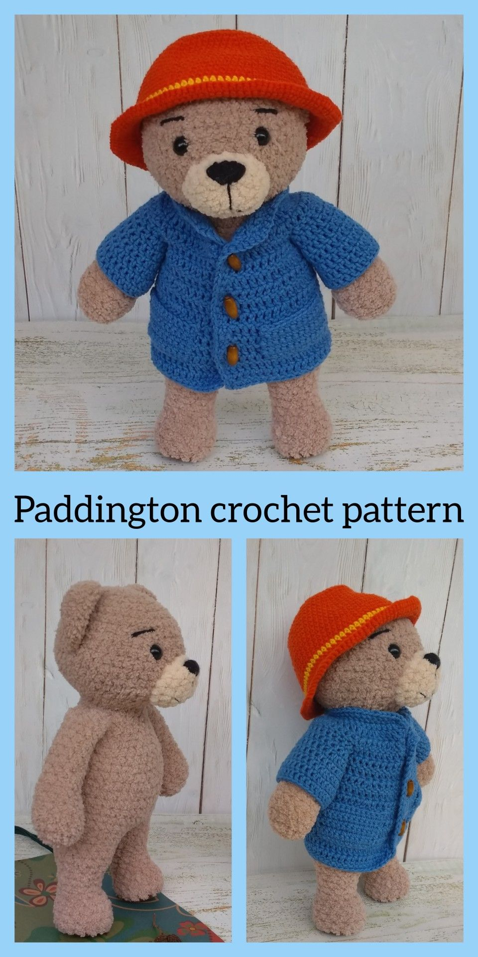 Paddington crochet pattern Amigurumi bear pattern Stuffed animals crochet pattern