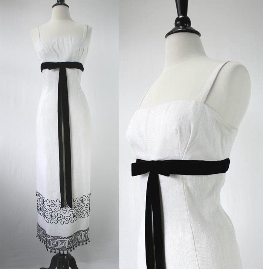 Vintage s dress cocktail empire gown evening black u white velvet