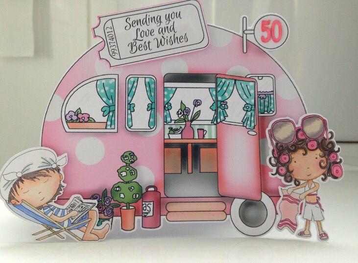 Fun caravan birthday card with images birthday cards