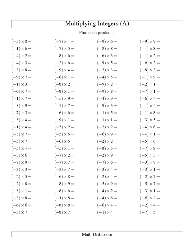 50+ Positive multiplication drill worksheets Awesome