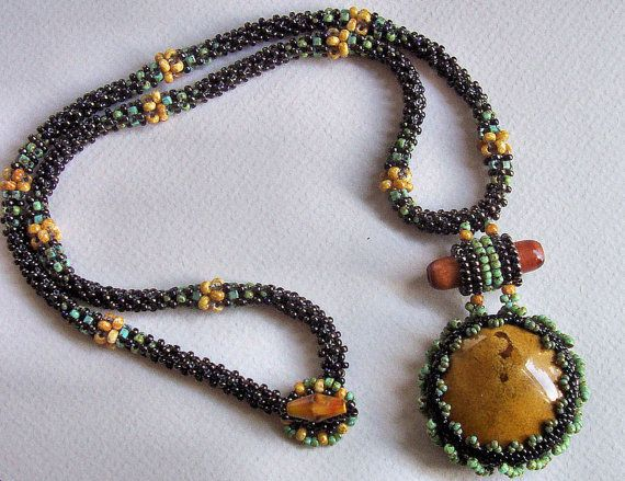 Seed Bead CRAW beaded rope & bezeled ceramic question mark cabochon necklace