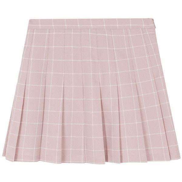 Checkered Pleated Skorts (€21) ❤ liked on Polyvore featuring skirts, mini skirts, bottoms, pleated skort, pink mini skirt, pink skirt, skort skirt and pleated mini skirt