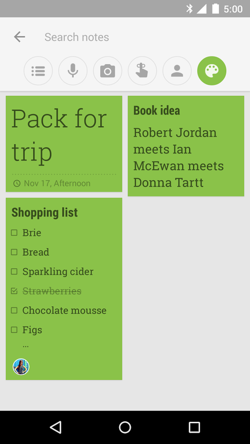 Google Keep (app for Android and iOS) Keep functions far