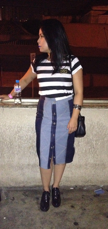 Self Style #saia #jeans #botão #listras