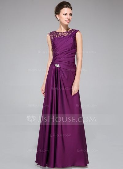 Mother of the Bride Dresses - $139.99 - A-Line/Princess Scoop Neck Floor-Length Lace Satin Chiffon Mother of the Bride Dress With Ruffle Beading (008040832) http://jjshouse.com/A-Line-Princess-Scoop-Neck-Floor-Length-Lace-Satin-Chiffon-Mother-Of-The-Bride-Dress-With-Ruffle-Beading-008040832-g40832