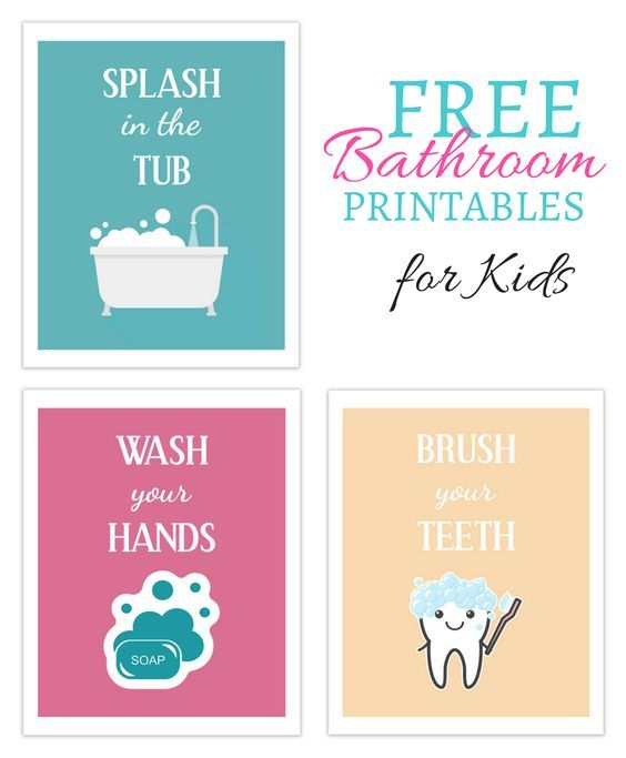 graphic relating to Free Printable Bathroom Art identified as Youngsters Printables Decorating Rest room small children, Young children bathtub