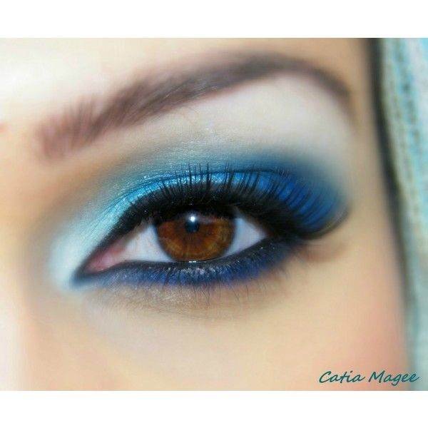 Blue Makeup for Brown Eyes ❤ liked on Polyvore featuring makeup, eyes, beauty, eyeshadow and eye makeup