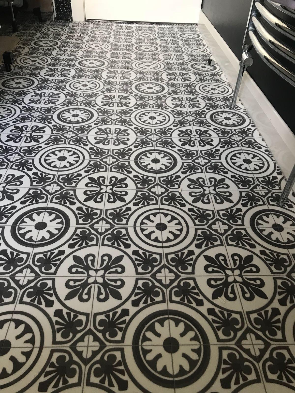 Unique Traditional Look Tile Effect Vinyl Flooring Pictured