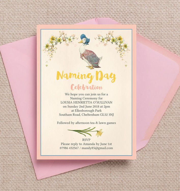 Jemima Puddle Duck Naming Day Ceremony Invitation Naming ceremony - naming ceremony invitation