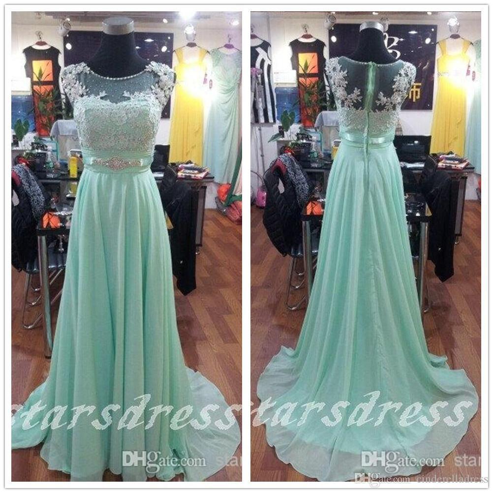 Wholesale prom dresses buy beautiful mint lace chiffon long