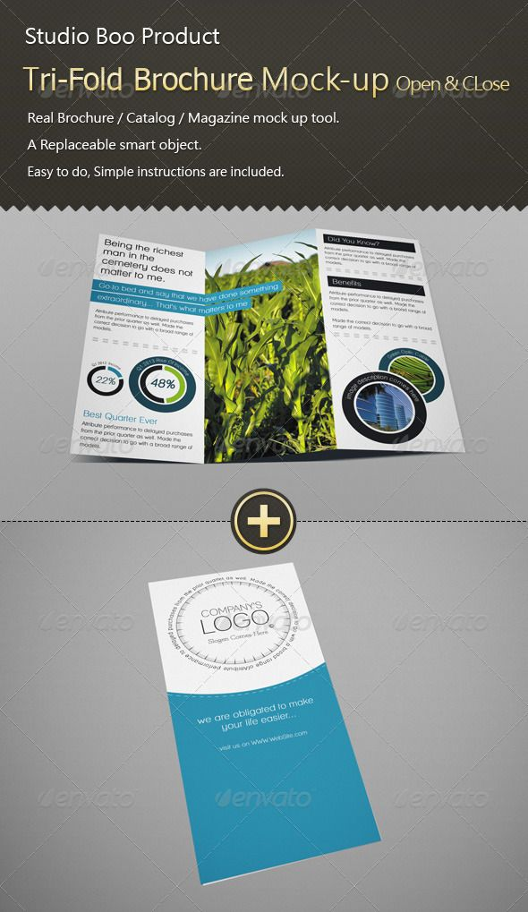 TriFold Brochure  Catalog MockUp Open  Close  Tri Fold