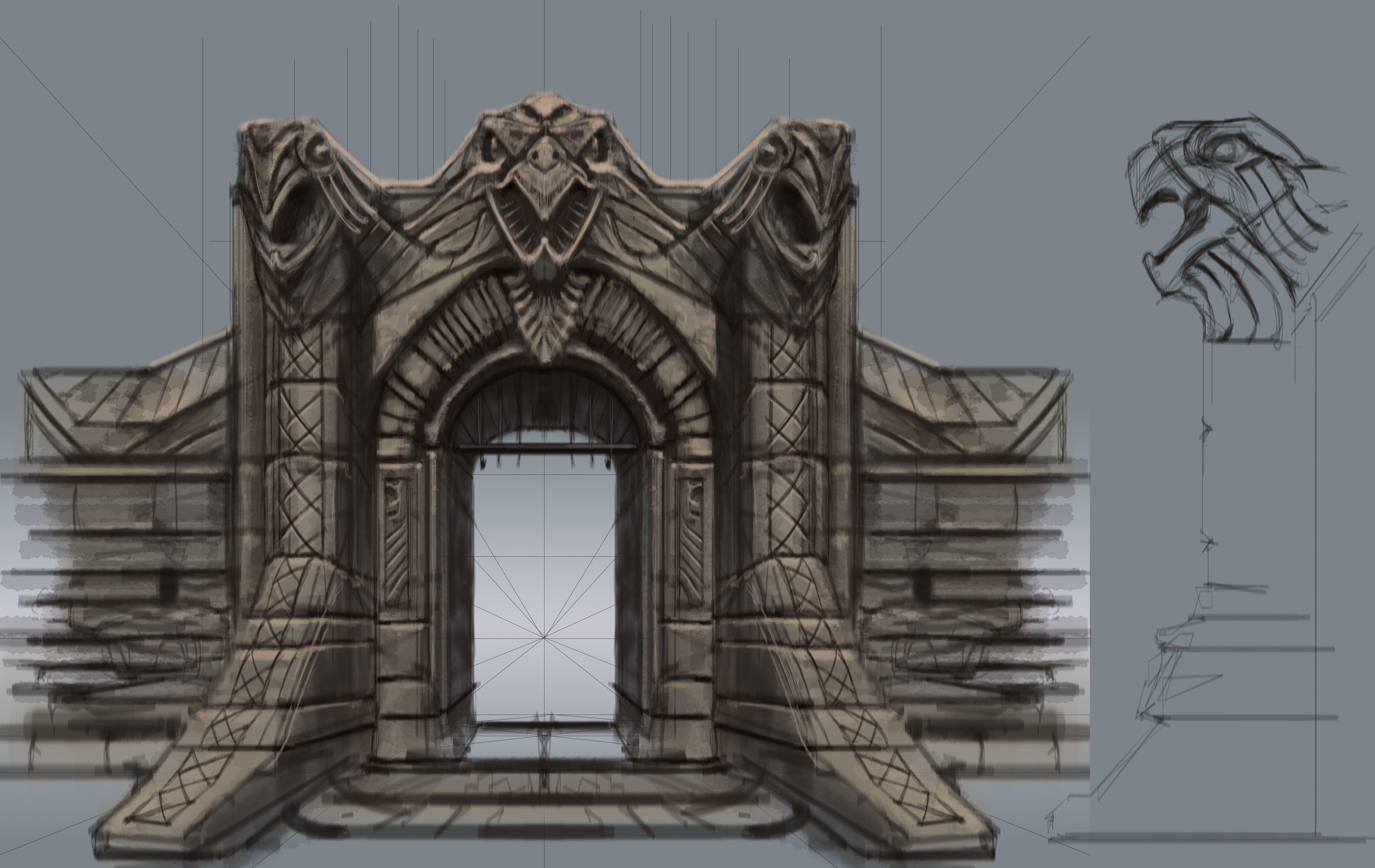 Windhelm gate concept art elder scrolls pinterest skyrim and concept art - Several artistic concepts for main door ...