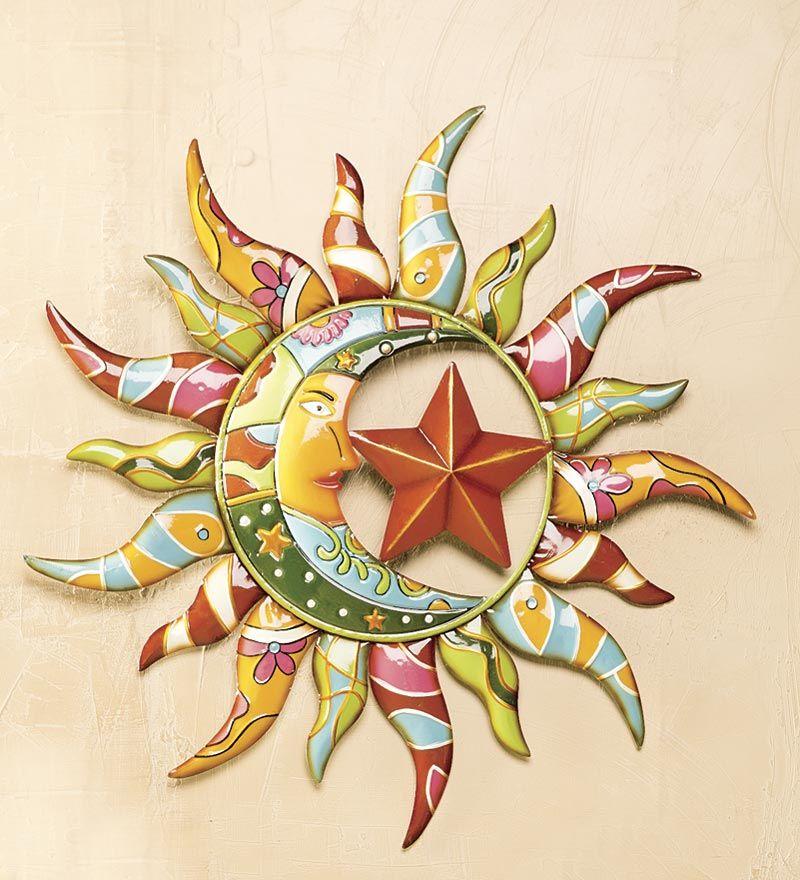 Talavera Painted Metal Sun And Moon Wall Art | Deck | Gift Ideas ...