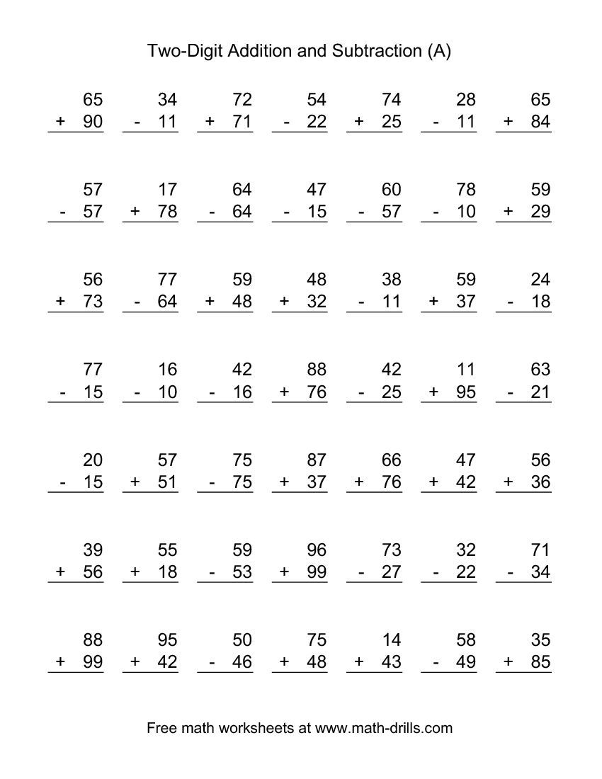 Worksheets Subtraction And Addition Worksheets adding and subtracting two digit numbers second grade worksheets the a math worksheet from mixed operations page at
