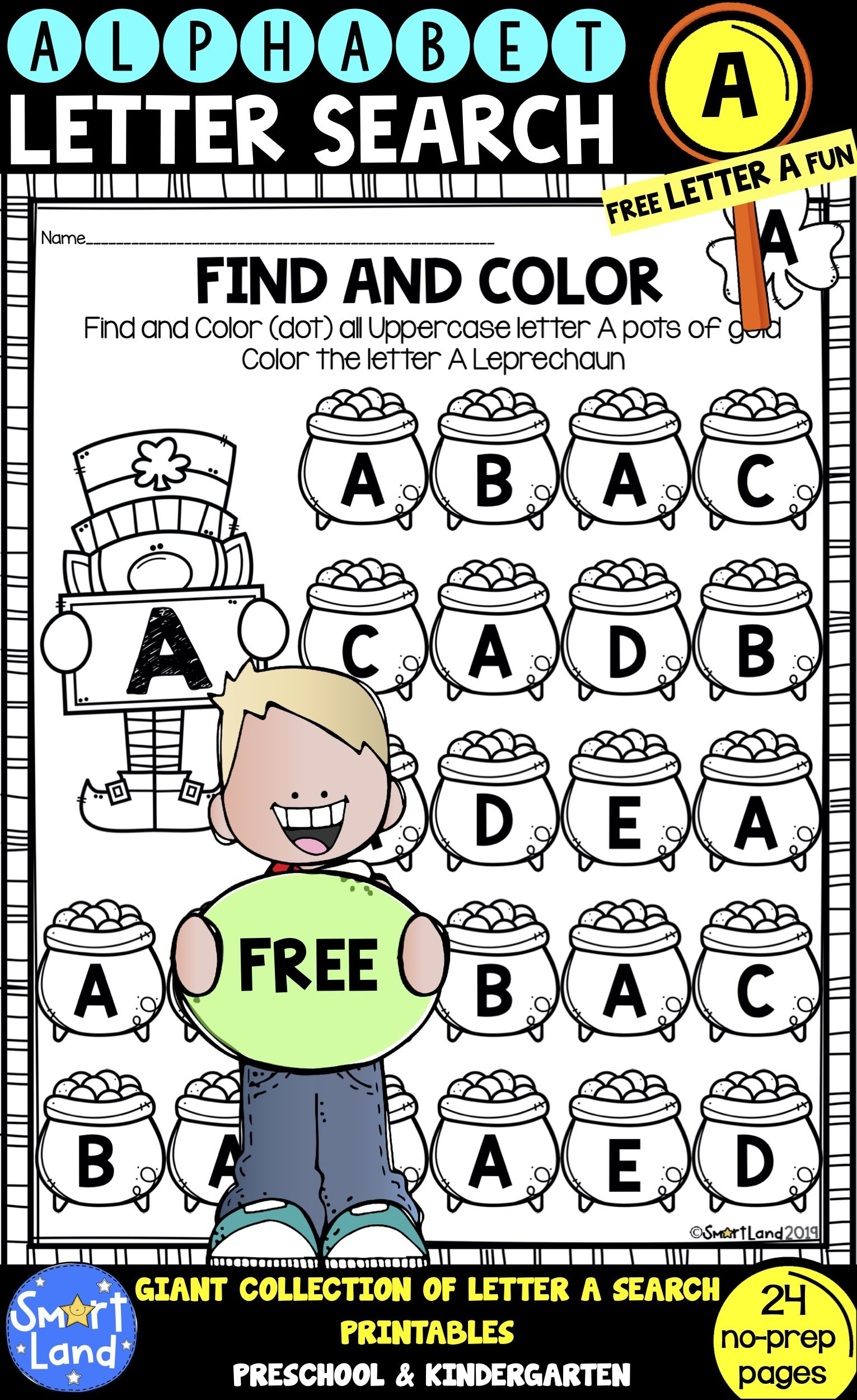 Free Alphabet Practice Letter Search Letter A