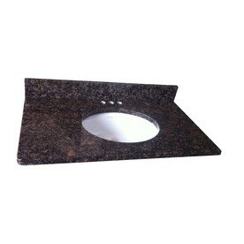 allen + roth Tan Brown Granite Undermount Single Sink Bathroom Vanity Top  (Common: x Actual: x at Lowe's. Offering timeless appeal, the rich tones  and ...