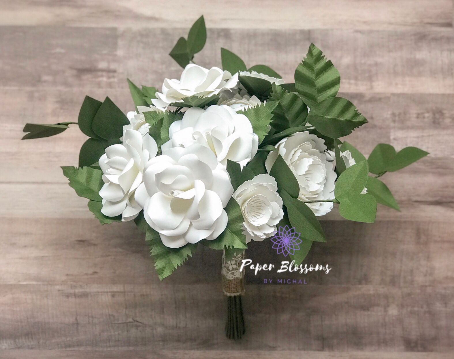 Rustic Wedding White Paper Flower Bouquet Paper Flowers Wedding Bouquet Paper Flower Bouquet Dried Flower Bouquet