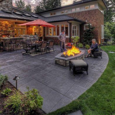 Oval Fire Pit Concrete Patio Designs Backyard Patio Backyard