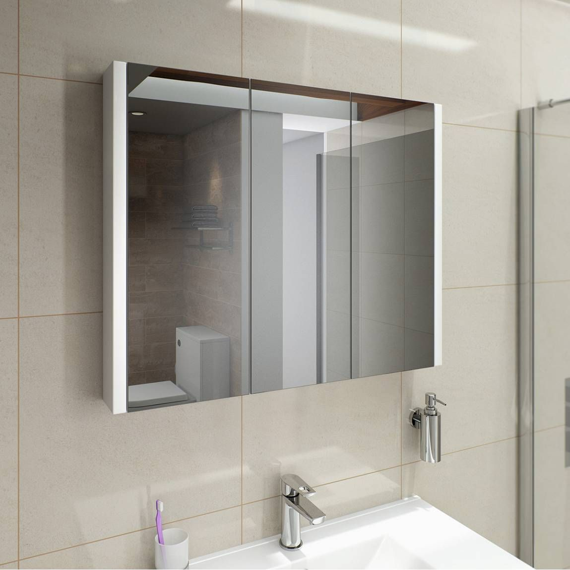 Odessa White 3 Door Mirror Cabinet Victoria Plumb 100 90 Cm Wide