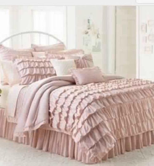 lc lauren conrad ella ruffle shabby twin xl chic blush pink comforter set 3pc