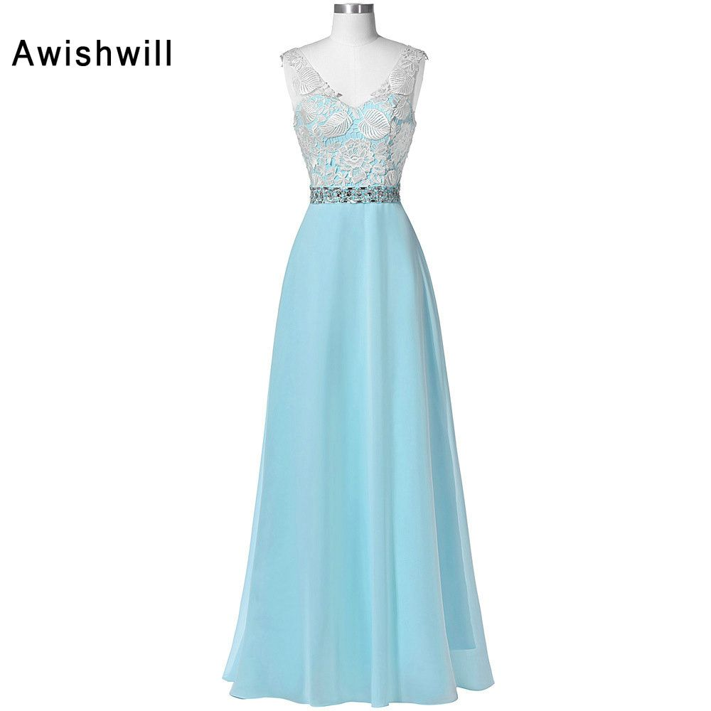 Fashion Women Blue Long Evening Dress V Neck Veading Lace Chiffon ...