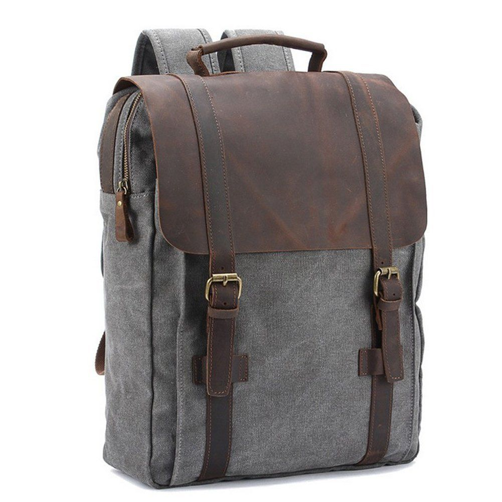 qincao damen herren canvas und leder rucksack vintage laptop rucksack 15 zoll uni rucksack. Black Bedroom Furniture Sets. Home Design Ideas