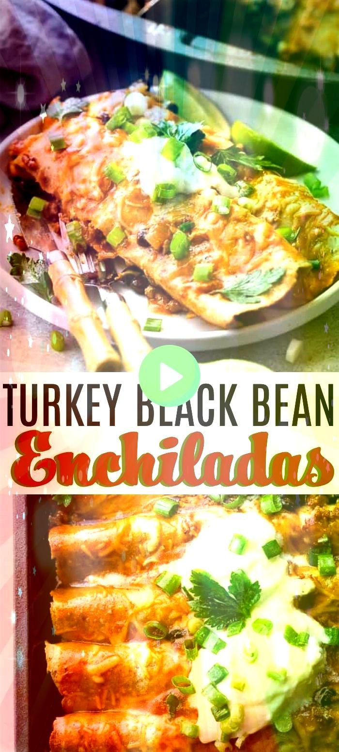 Turkey Black Bean Enchiladas  Loaded with ground turkey and black beans these saucy cheesy enchiladas are super easy to make and always everyones favoriteGround Turkey Bl...