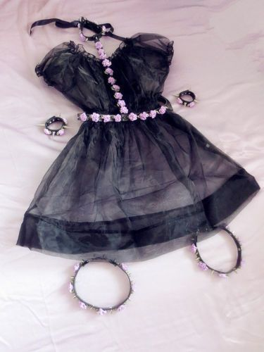 Sexy Lolita Pastel Goth Body spiked harness belt-choker Leather Flowers