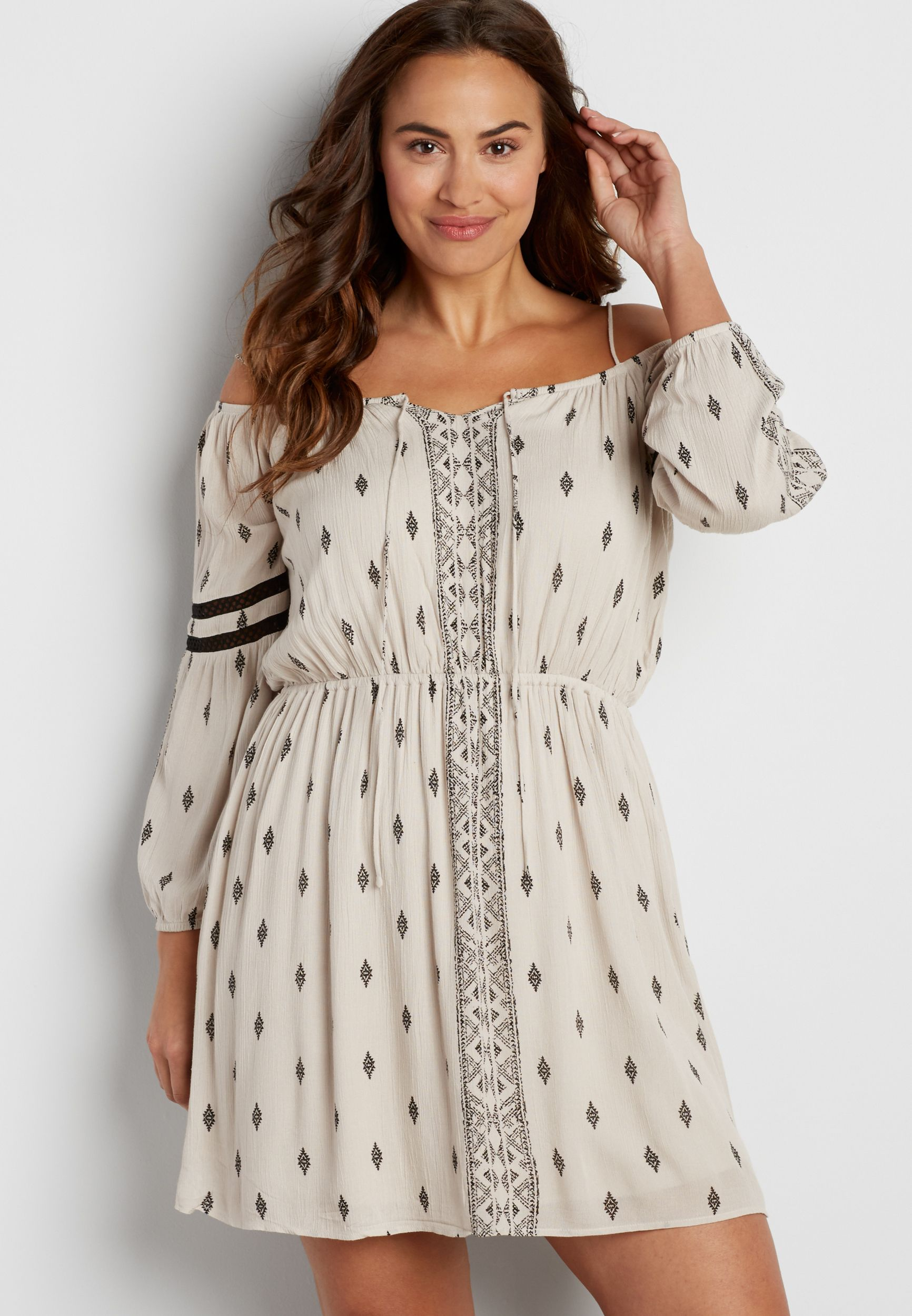 Plus size cold shoulder peasant dress in ethnic print | My Style ...