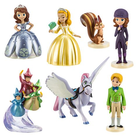 Disney Sofia the First Christmas Ornaments 7pc Figure Set Minimus Good Fairies !