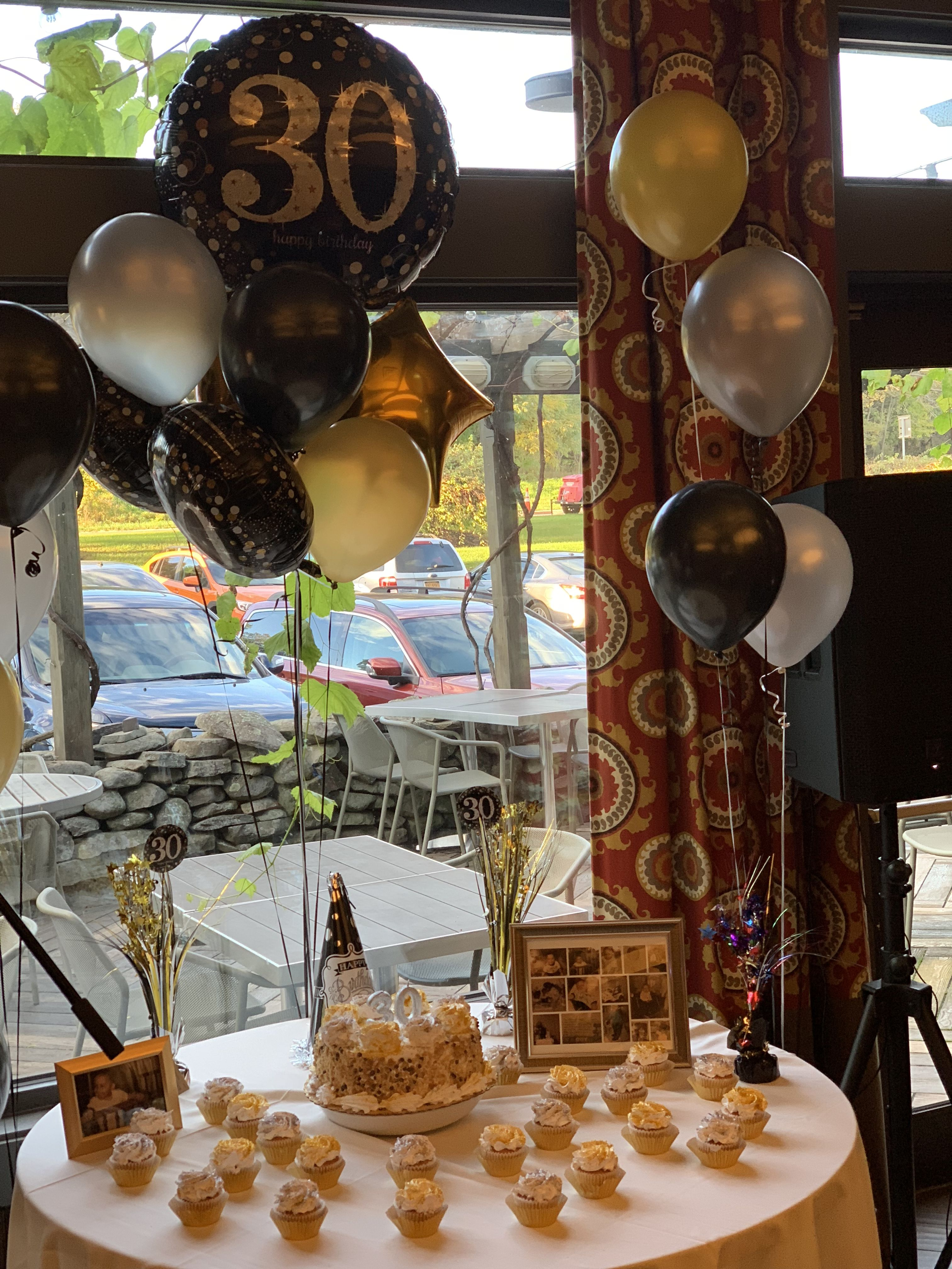 30th Birthday Simple Candy Table Gold Silver White Some