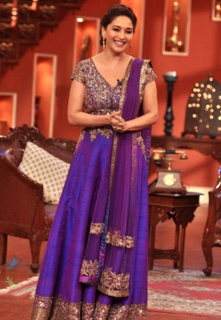 Madhuri Dixit Purple Floor Length Anarkali At Comedy Nights With Kapil Bollywood Fashion Indian Wedding Dress Celebrity Gowns