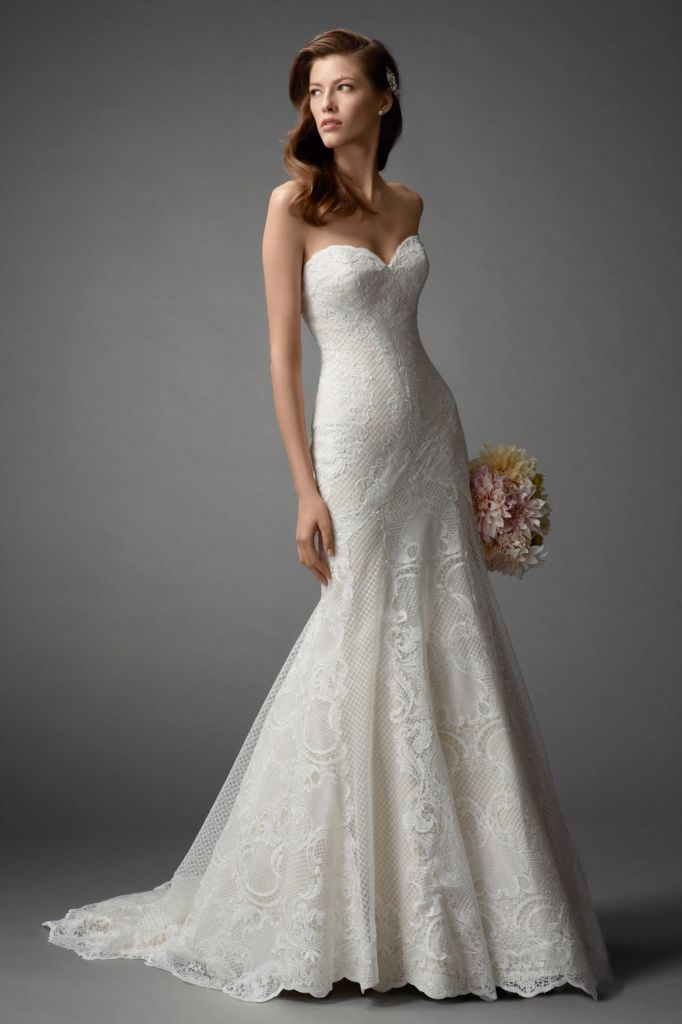 Watters Femi 7043B - Fit to flare gown with Baroque and Lattice Lace ...