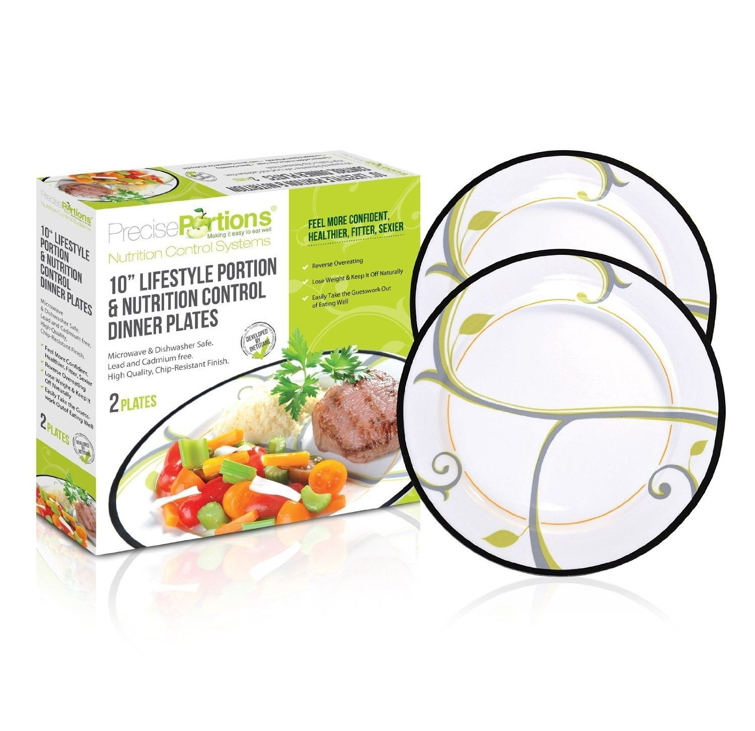Healthy Lifestyle Nutrition and Portion Control Dinner Plate ...